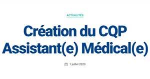 Création du CQP Assistant(e) Médical(e)