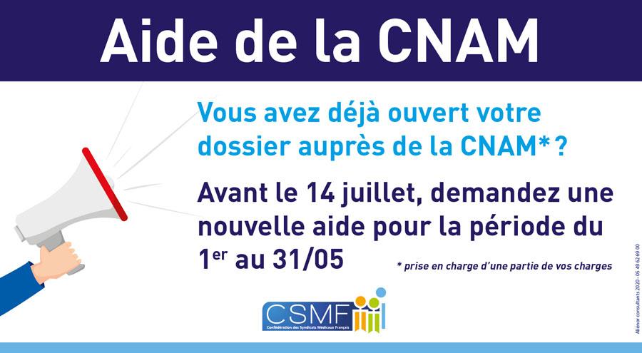 CNAM : demandez l'aide pour le mois de mai !